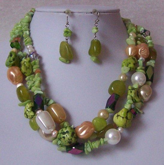 Green Peach White AB Pearl Turquoise Semiprecious Semi Precious Western Necklace Set