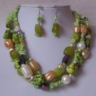 Green Peach White AB Pearl Turquoise Semiprecious Semi Precious Western Necklace Set