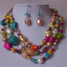Blue Pink Yellow Green Peach White Pearl Turquoise Semiprecious Semi Precious Western Necklace Set