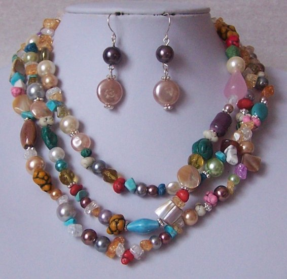 Yellow Blue Red Peach Freshwater Pearl Turquoise Semiprecious Semi Precious Western Necklace Set