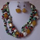 Yellow Blue Black Purple White Mix Turquoise Semiprecious Semi Precious Western Necklace Set