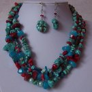 Blue Red Pearl Mix Turquoise Semiprecious Semi Precious Western Necklace Set