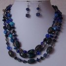 Blue Glass Mixed Nugget Triple Strand Turquoise Necklace Set