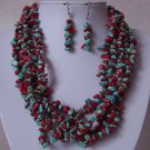 Red Blue Five Strand Turquoise Semiprecious Semi Precious Western Necklace Set