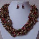 Red Green Brown Five Strand Turquoise Semiprecious Semi Precious Western Necklace Set