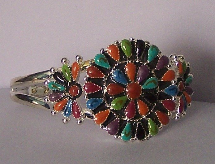 Western South Southwestern Multicolor Red Blue Green Black Bangle Bracelet