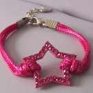Pink Crystal Texas Lonestar Star Rodeo Cowgirl Western Bracelet