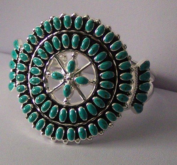 Western South Southwestern Turquoise Blue Bangle Bracelet