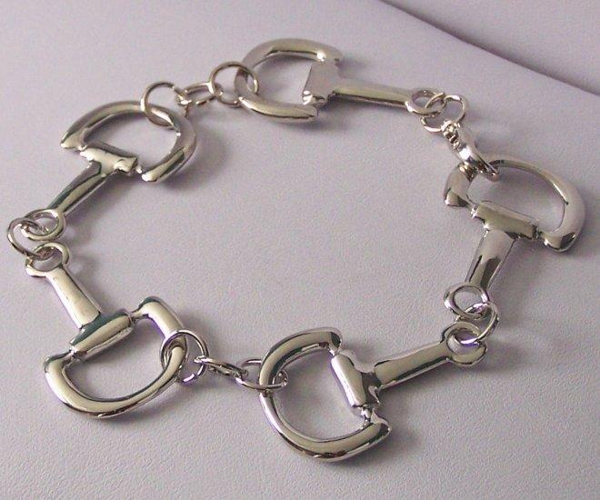 Western Snaffle Bit Silver Tone Bracelet