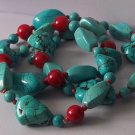 Western Chalk Red Porcelain Blue Turquoise Semiprecious Semi Precious Three Strand Bracelet