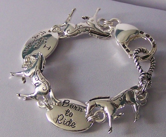 Western Horse Pony Horseshoe Shoe Born to Ride I love My Horse Bracelet