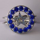 Western Royal Blue Crystal AB Aurora Borealis Texas Lonestar Star Rodeo Shoe Bangle Bracelet