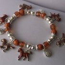 Brown Kids Children Childs Girls Girl Pony Horse Horseshoe Shoe Western Charm Bracelet