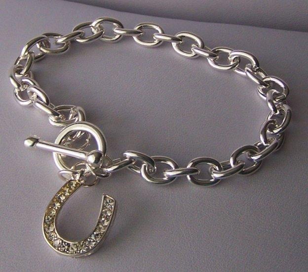 Clear SP Crystal  Rodeo Horseshoe Horse Shoe Charm Bracelet