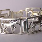 Horse Pony Mustang Silver P Western Bangle Bracelet