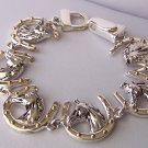 Two Tone Gold P Silver Tone Horseshoe Horse Shoe Head Pony Mustang Western Bracelet