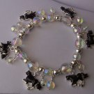 Black Aurora Borealis AB Horse Charm Sparkling Western Bracelet