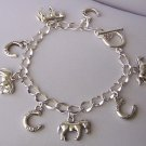 SP Horse Horseshoe Shoe Pony Mustang Cowgirl Western Bangle Charm Bracelet