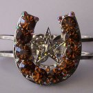 Brown Crystal AB Aurora Borealis Texas Lonestar Star Rodeo Horseshoe Horse Shoe Bangle Bracelet