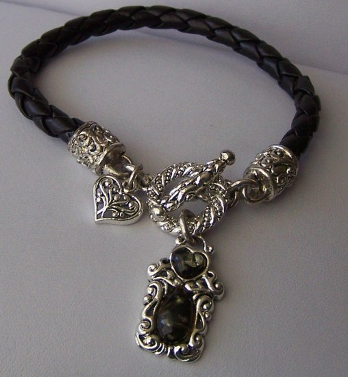 Braided Black Heart Love Western Charm Square Bracelet