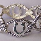 Horse Shoe Horseshoe Roped Western Bangle Bracelet