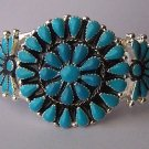 Western South Southwestern West Turquoise Blue Flower Bangle Bracelet