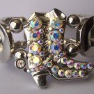 Crystal AB Aurora Borealis Horseshoe Horse Shoe Western Boot Boots Bangle Bracelet