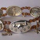 Brown Wagon Texas Star Lonestar Longhorn Bull Steer Cowgirl Western Bangle Bracelet
