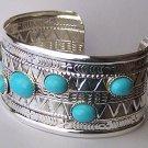 Western Blue Bead Bangle Bracelet
