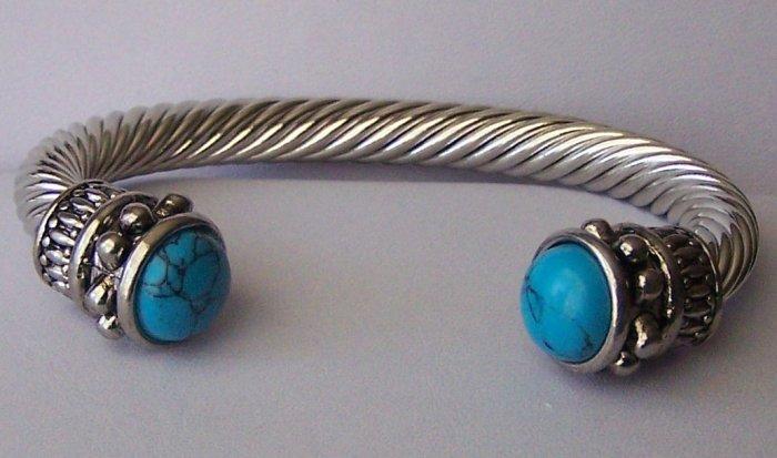 Blue Turquoise Western Cable Bangle Bracelet