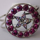 Western Purple Amethyst Crystal AB Aurora Borealis Texas Lonestar Star Rodeo Shoe Bangle Bracelet