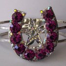 Purple Crystal AB Aurora Borealis Texas Lonestar Star Rodeo Horseshoe Horse Shoe Bangle Bracelet