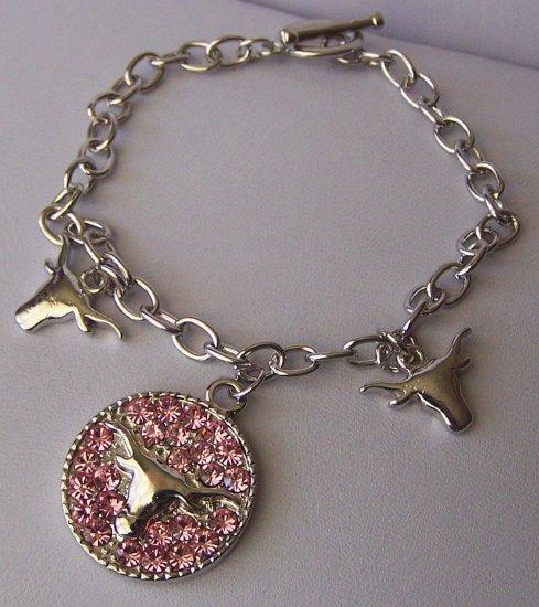 Pink Crystal Texas Longhorn Bull Steer Western Charm Bracelet