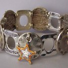 Antique Style Horseshoe Boots Sheriff Star Cowgirl Bangle Western Charm Bracelet