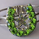 Green Crystal AB Aurora Borealis Texas Lonestar Star Rodeo Horseshoe Horse Shoe Bangle Bracelet