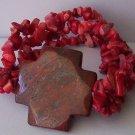 Western Religious Cross Red Turquoise Semiprecious Semi Precious Bracelet