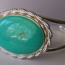 Blue Oval Aqua Turquoise Bangle Cuff Bracelet