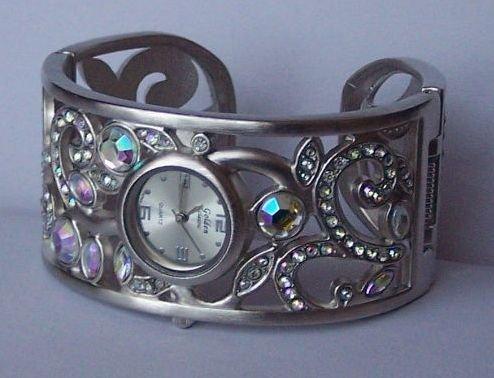 AB Aurora Borealis Silver Tone Bangle Bracelet Watch