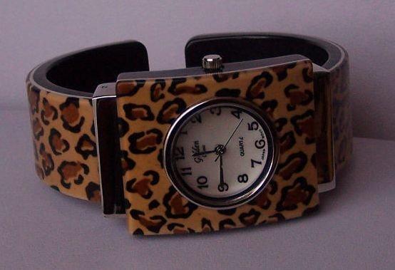 Brown Black Animal Print Leopard Bangle Bracelet Watch