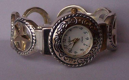 Two Tone Texas Lonestar Star Western Bangle Bracelet Watch