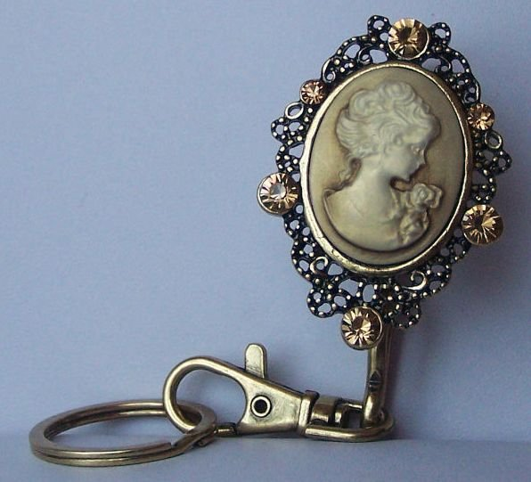 Brown Topaz Lady Cameo Crystal Finder Key Keychain