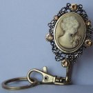 Brown Topaz Lady Cameo Crystal Finder Key Keychain