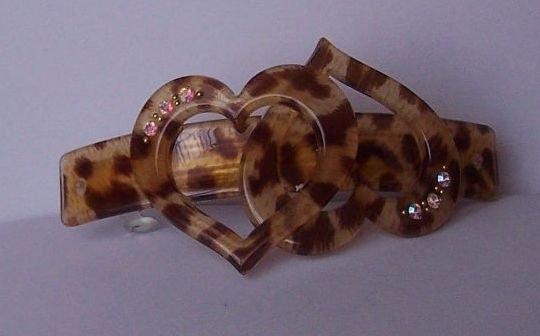 AB Aurora Borealis Crystal Heart Love Brown Animal Print Hair Barette