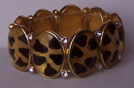 Black Brown Clear Crystal Oval Animal Print Bracelet