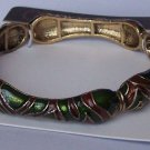 Brown Green Animal Print Bangle Bracelet