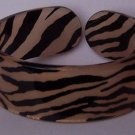 Beige Brown Tan Black Animal Print Cuff Bangle Bracelet