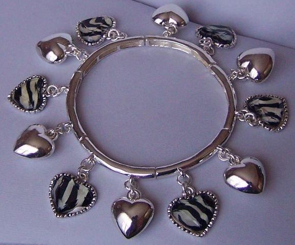 White Black Animal Print Heart Valentines Day Charm Bracelet