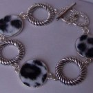 White Black Animal Print Circle Bracelet