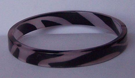 Off White Black Animal Print Cuff Bangle Bracelet