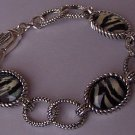 White Black Zebra Striped Silver Tone Animal Print Bangle Bracelet